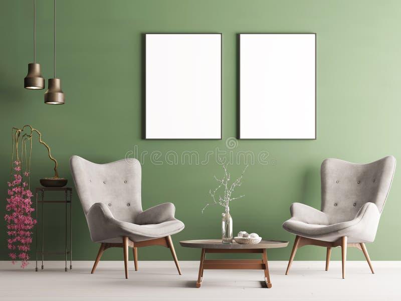 Derida sul manifesto nell'interno moderno pastello con la parete verde, le poltrone molli, la pianta e le lampade illustrazione di stock
