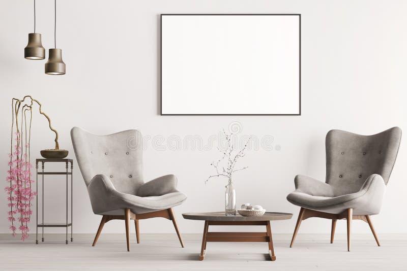 Derida sul manifesto nello stile classico interno pastello con le poltrone, la pianta e le lampade molli illustrazione di stock
