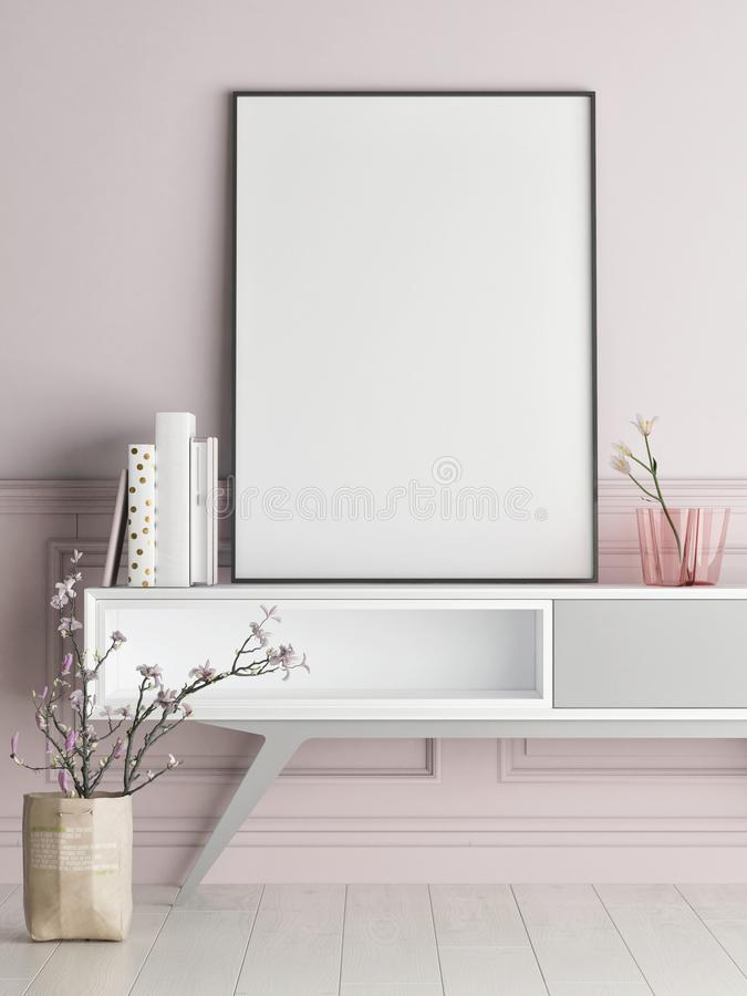 Derida sul manifesto sulla parete rosa, fondo dei pantaloni a vita bassa illustrazione di stock