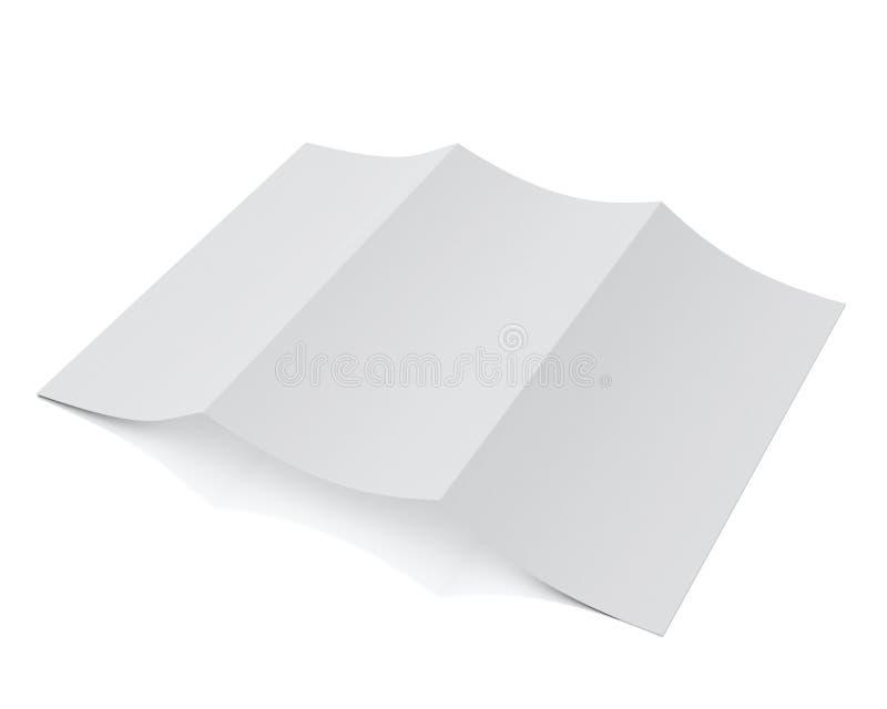 Derida sul modello 3d dell'opuscolo in bianco che si trova, isolato su fondo bianco illustrazione vettoriale