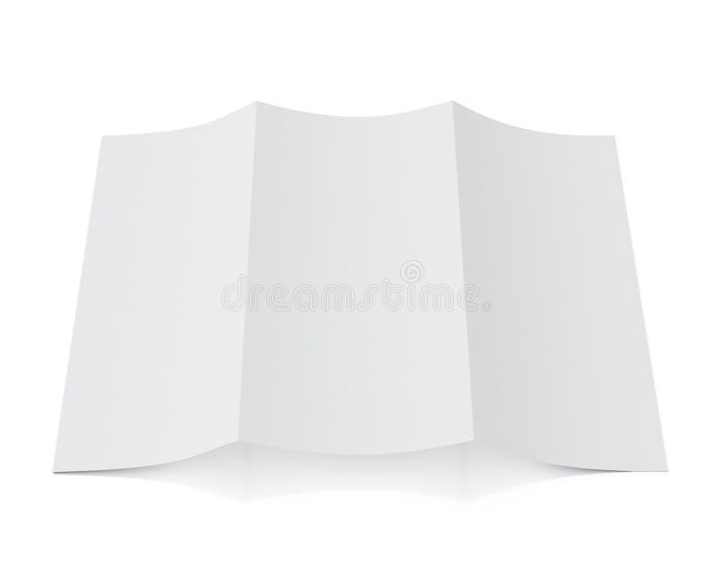 Derida sul modello 3d dell'opuscolo in bianco che si trova, isolato su fondo bianco illustrazione di stock
