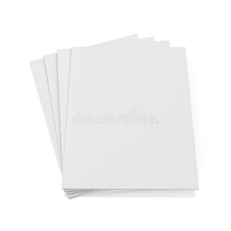 Derida sul modello 3d delle riviste in bianco isolate su fondo bianco illustrazione vettoriale