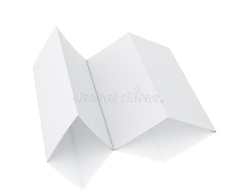 Derida sul modello 3d di menzogne in bianco dell'opuscolo isolato su fondo bianco illustrazione vettoriale