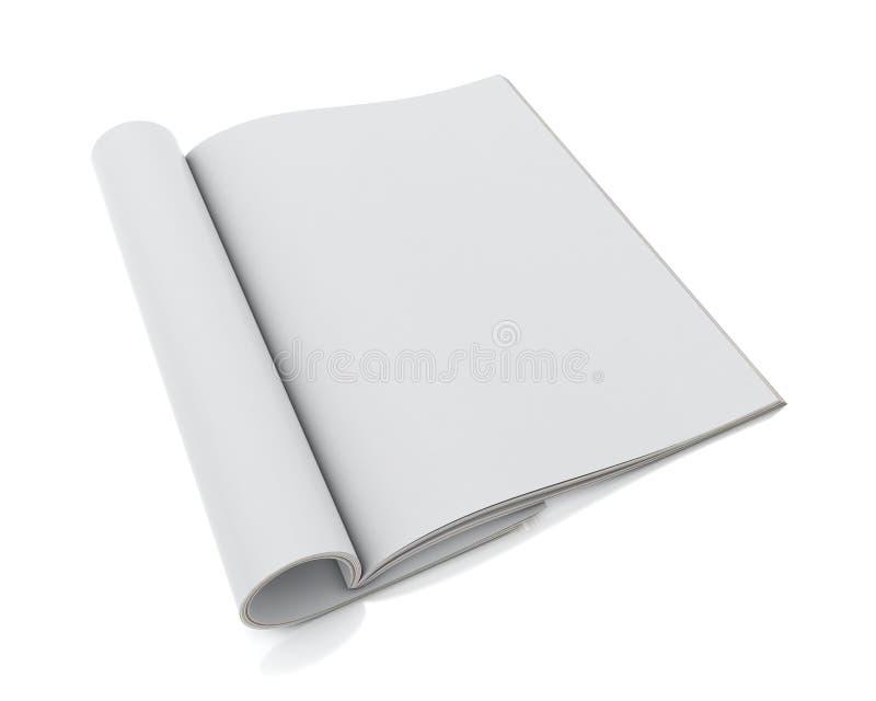 Derida sul modello delle riviste aperte spazio in bianco isolate su fondo bianco illustrazione di stock