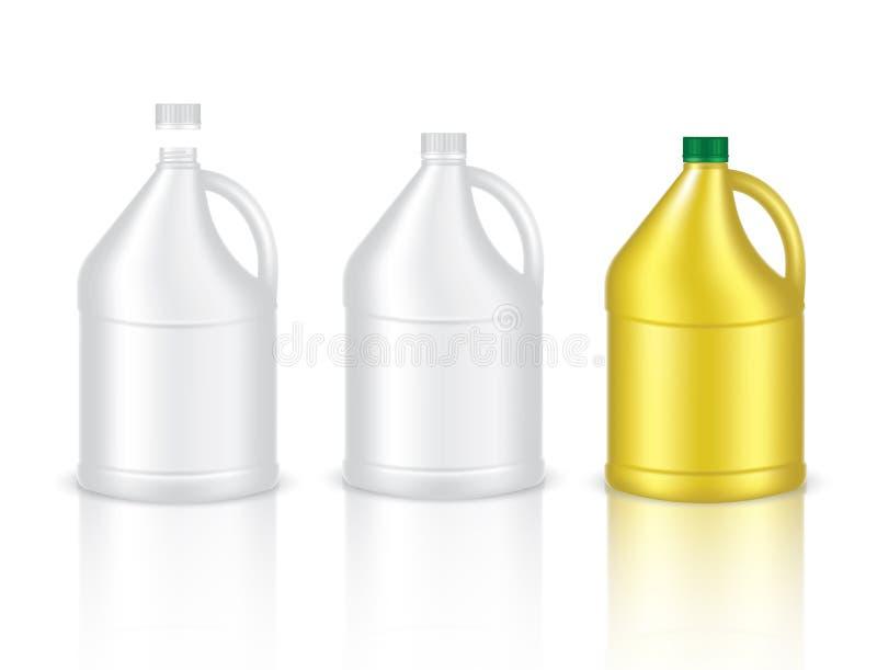 Derida sul prodotto d'imballaggio di gallone di plastica realistico per il fondo isolato della bottiglia per il latte o della sol royalty illustrazione gratis