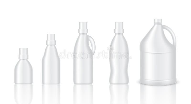 Derida sul prodotto d'imballaggio di gallone di plastica realistico per la soluzione, il lavaggio del tessuto, l'emolliente, il l illustrazione di stock