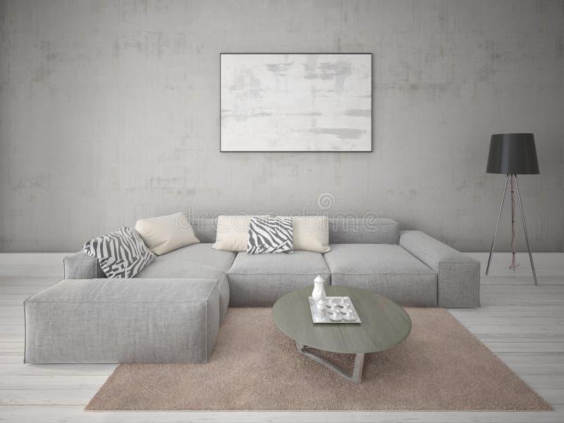 Derida sul salotto alla moda con il sofà d'angolo grigio royalty illustrazione gratis