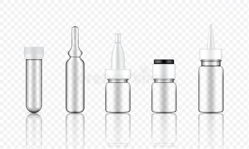 Derida sul siero cosmetico trasparente realistico, la fiala, bottiglie del contagoccia dell'olio messe per l'illustrazione del fo illustrazione di stock