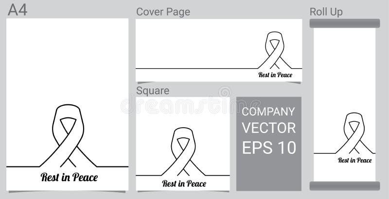 Derida sul simbolo di dolore con il nastro nero di rispetto sull'insegna bianca del fondo Resto nella carta funerea di pace illustrazione di stock