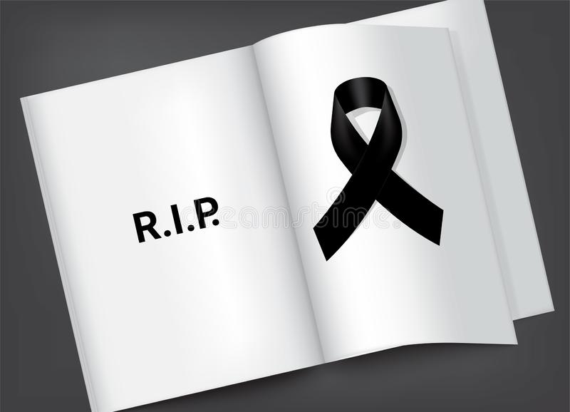 Derida sul simbolo di dolore con il nastro nero di rispetto sull'insegna bianca del fondo del tascabile Resto nel vettore funereo illustrazione vettoriale