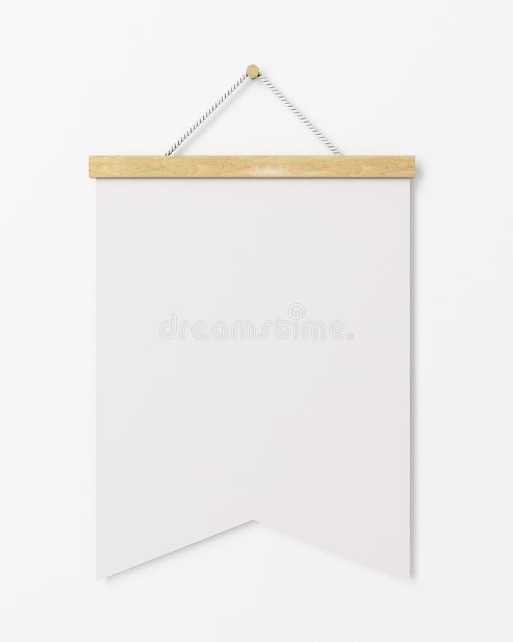 Derida sulla bandiera in bianco del manifesto con la struttura di legno che appende sulla parete bianca, fondo illustrazione di stock