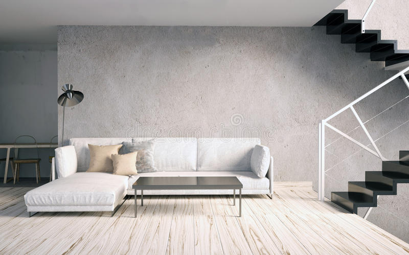 Derida sulla parete nell'interno con le scale ed il sofà hipst del salone illustrazione vettoriale