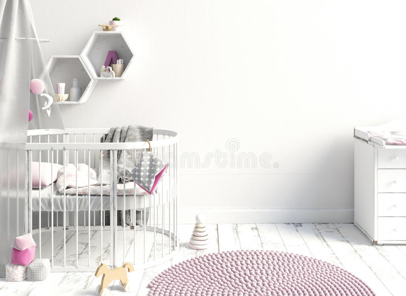 Derida sulla parete nell'interno del bambino posto di sonno St moderna illustrazione di stock