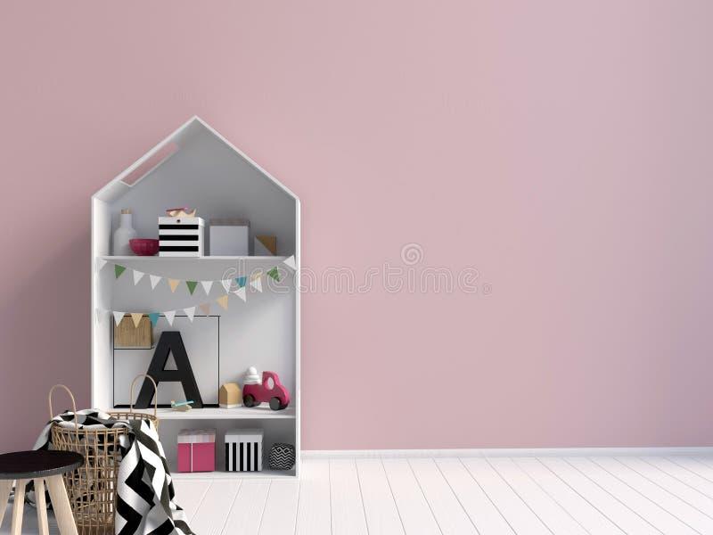 Derida sulla parete nell'interno del bambino Stile moderno illustrazione vettoriale