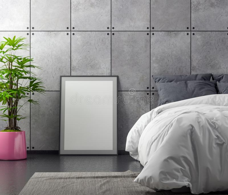 Derida sulla struttura del manifesto nel fondo interno della camera da letto con il muro di cemento, l'illustrazione 3D illustrazione di stock