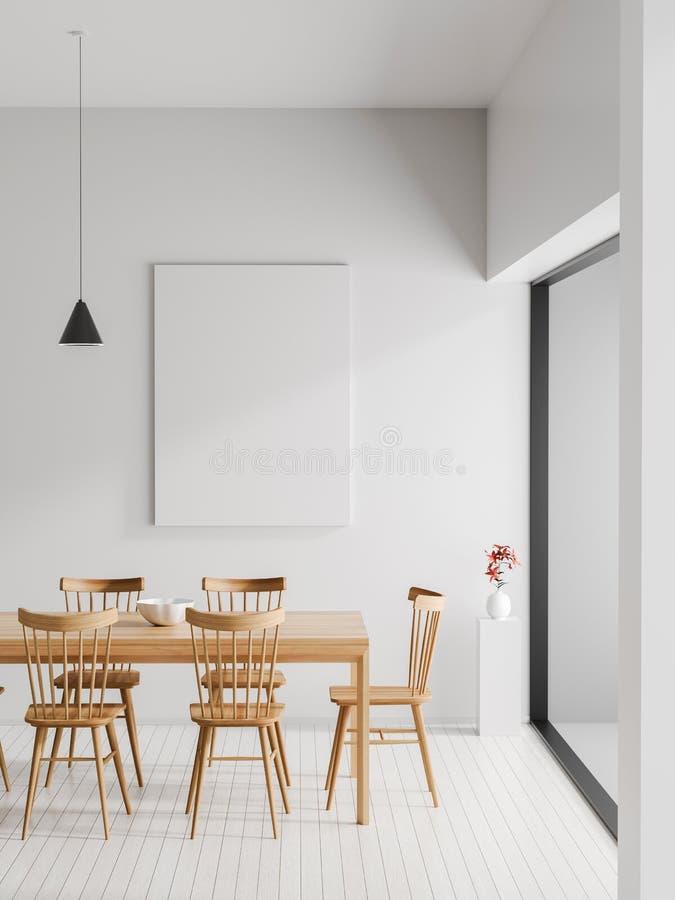 Derida sulla struttura del manifesto nell'interno scandinavo dei pantaloni a vita bassa di stile Sala da pranzo moderna minimalis illustrazione vettoriale