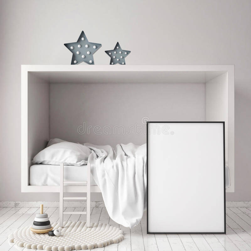 Derida sulla struttura del manifesto nella camera da letto dei bambini, il fondo interno di stile scandinavo, 3D rendono royalty illustrazione gratis