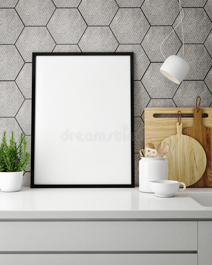 Derida sulla struttura del manifesto nella cucina dei pantaloni a vita bassa, backround interno illustrazione di stock