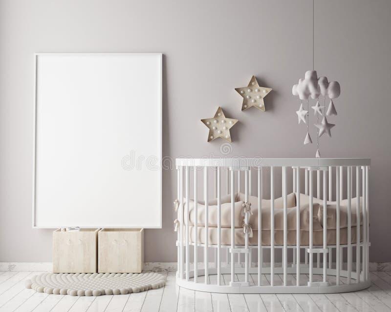 Derida sulla struttura del manifesto nella stanza di bambini con la decorazione di christamas, fondo interno di stile scandinavo, illustrazione vettoriale