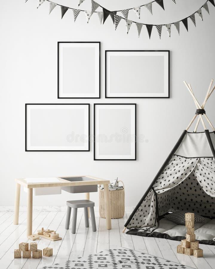 Derida sulle strutture del manifesto nella camera da letto dei bambini, il fondo interno di stile scandinavo, 3D rendono illustrazione vettoriale