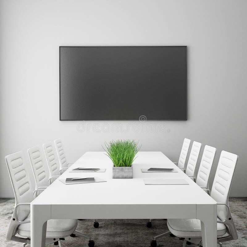 Derida sullo schermo della TV nella sala riunioni con la tavola di conferenza, fondo interno, immagini stock libere da diritti