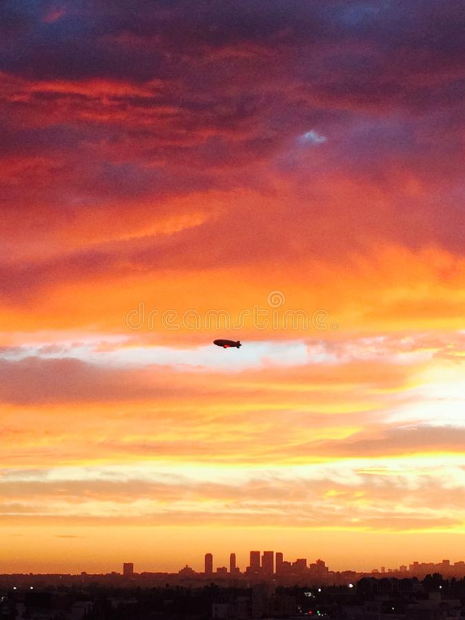 Derigible over Hollywood, CA Sunset royalty free stock photo