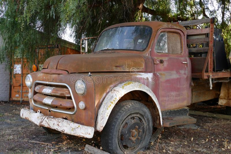 Derilect and rusted old truck, Chewton, near Castlemaine, Victoria, Australia royalty free stock photography