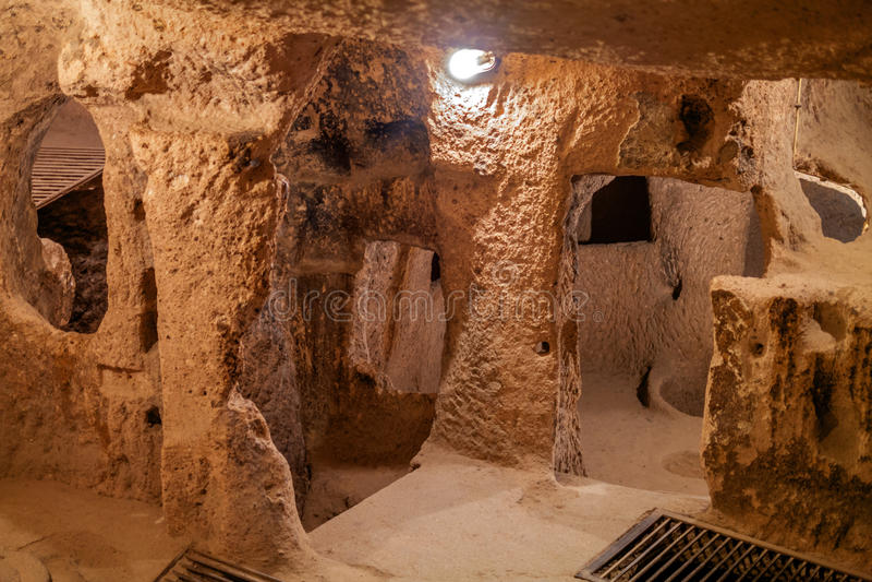 Derinkuyu - cave city in Cappadocia. Turkey. In Turkey, there are also cave city - Kaymakli, Derinkuyu Ozkonak, Adzhigol royalty free stock image
