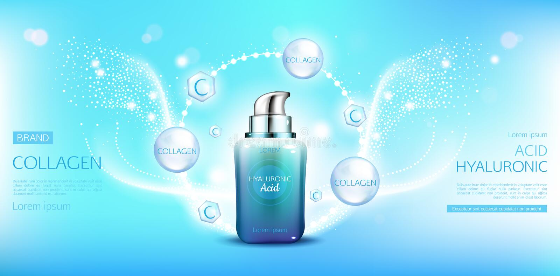 Derisione acida ialuronica della bottiglia dei cosmetici del collagene su illustrazione vettoriale
