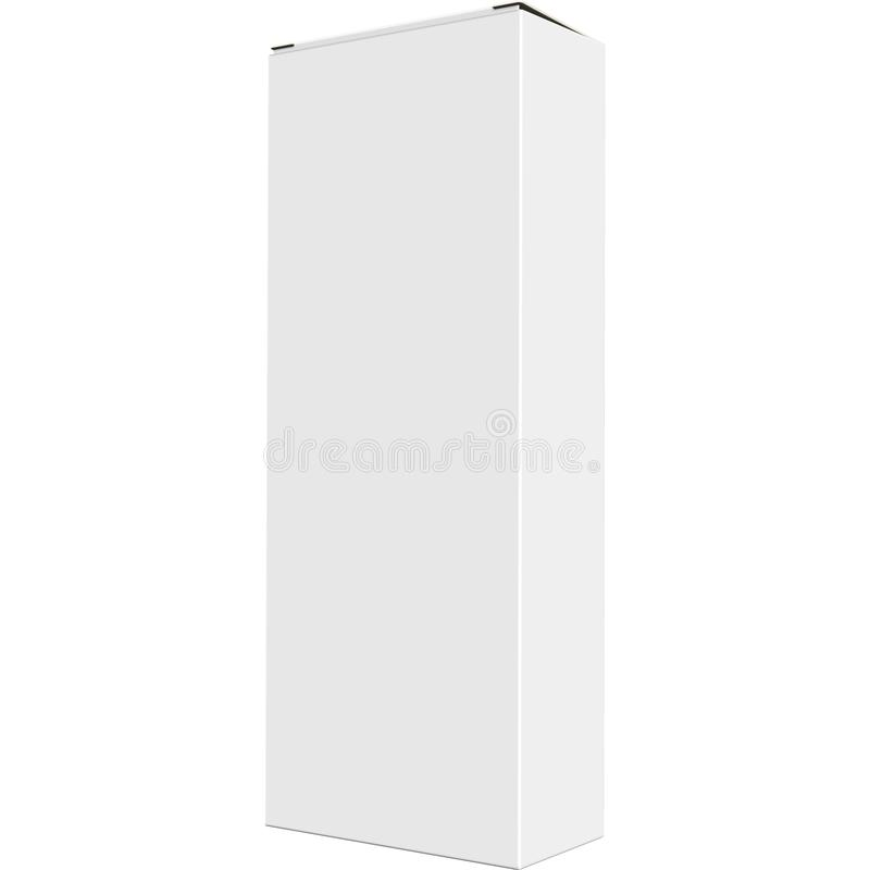 Derisione alta, scatola di carta isolata bianca, in bianco, chiara del contenitore di liquore nel fondo bianco con la vista di pr illustrazione vettoriale
