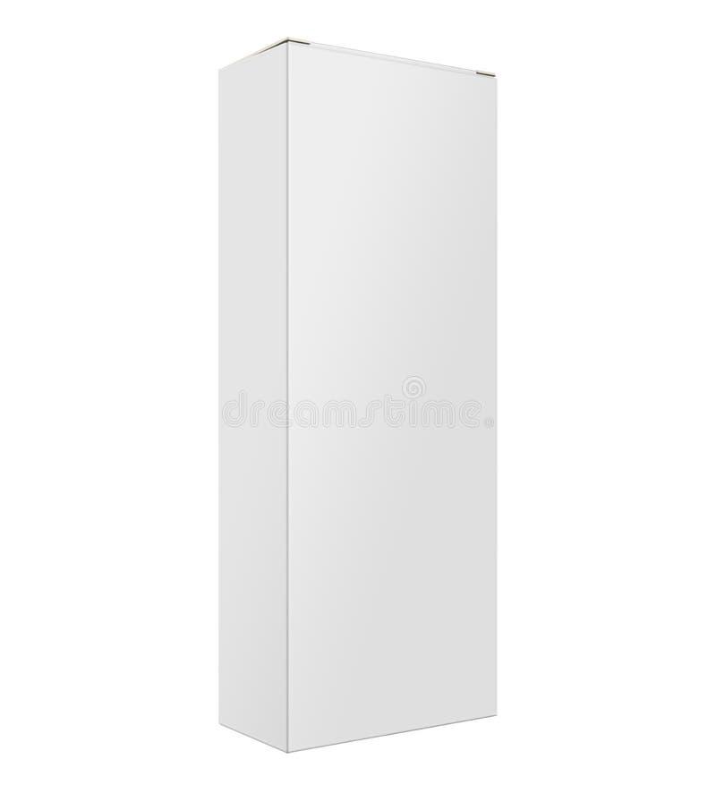 Derisione alta, scatola di carta isolata bianca, in bianco, chiara del contenitore di liquore nel fondo bianco con la vista di pr illustrazione di stock