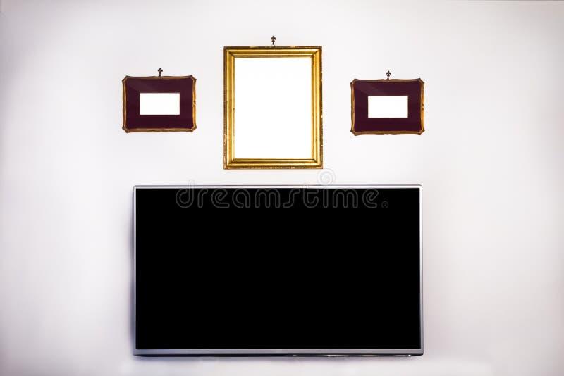 Derisione antica della televisione e della struttura su fotografia stock libera da diritti