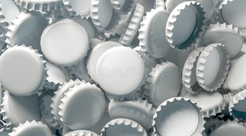 Derisione bianca in bianco della pila del coperchio della birra su, vista superiore immagine stock