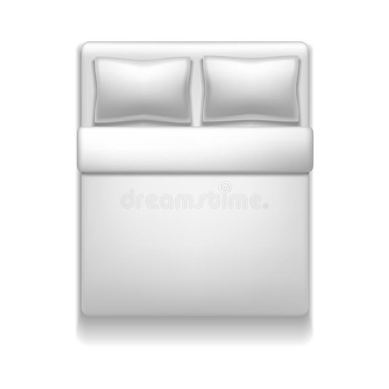 Derisione bianca del letto dello spazio in bianco dettagliato realistico del modello 3d su Vettore royalty illustrazione gratis