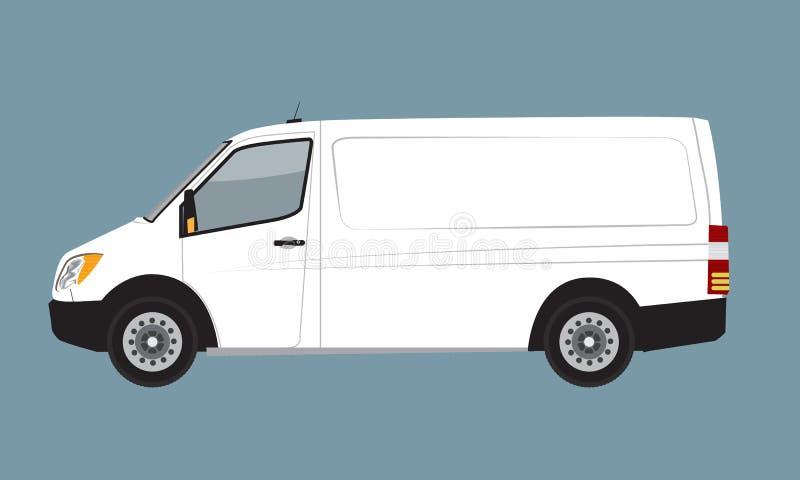 Derisione bianca di Van di affari del carico su per la marca e l'identità corporativa Illustrazione piana di vettore di Mini Van  illustrazione di stock