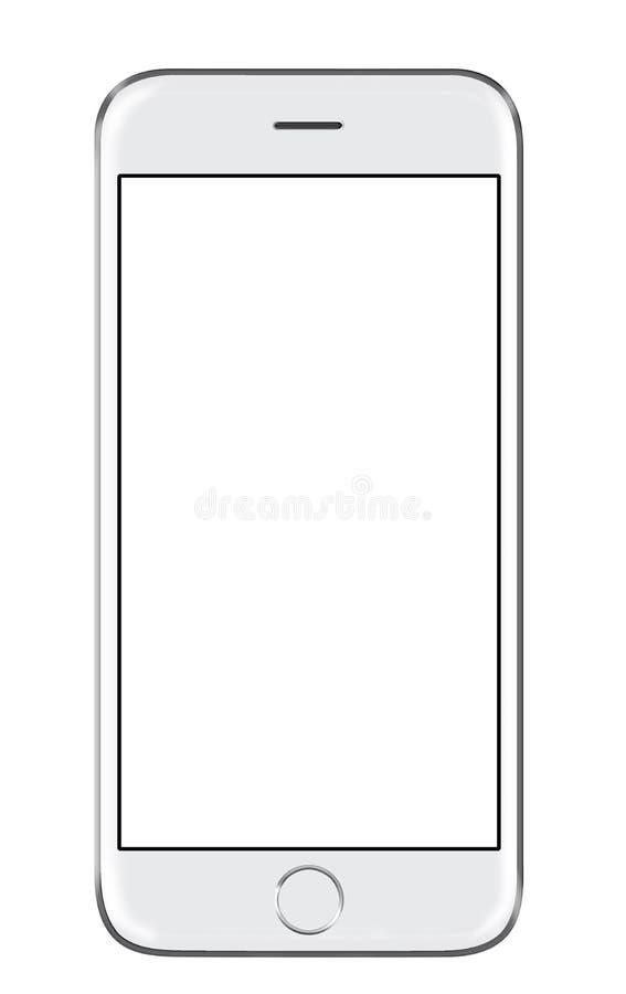 derisione bianca realistica dello Smart Phone dell'illustrazione 3D su su fondo bianco illustrazione di stock