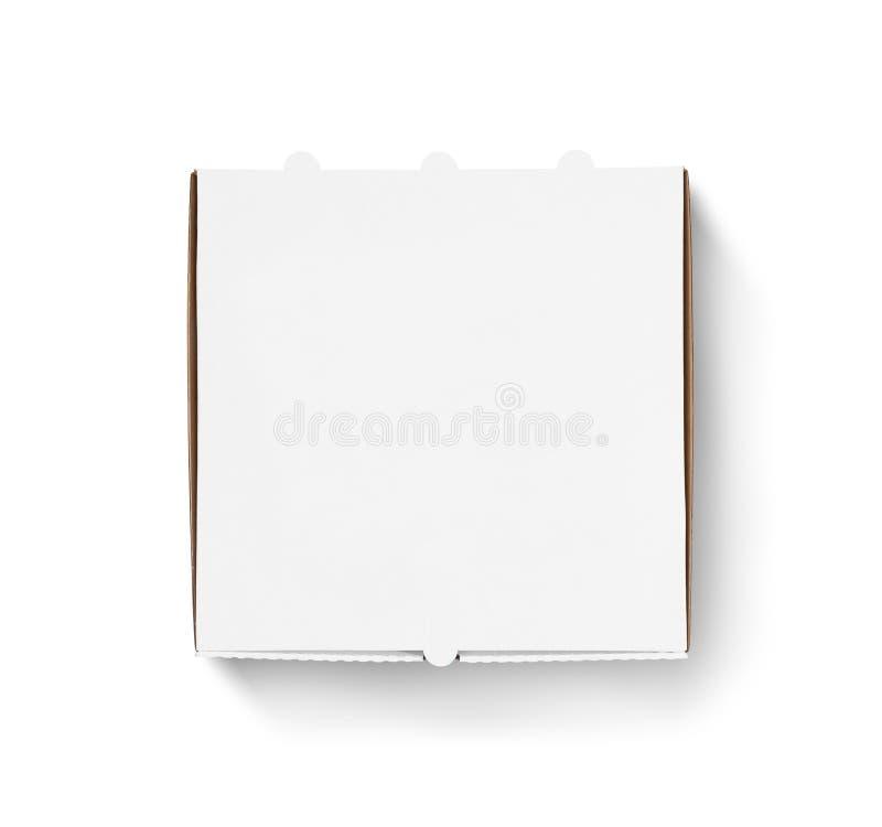 Derisione in bianco di progettazione del contenitore di pizza sulla vista superiore immagine stock libera da diritti