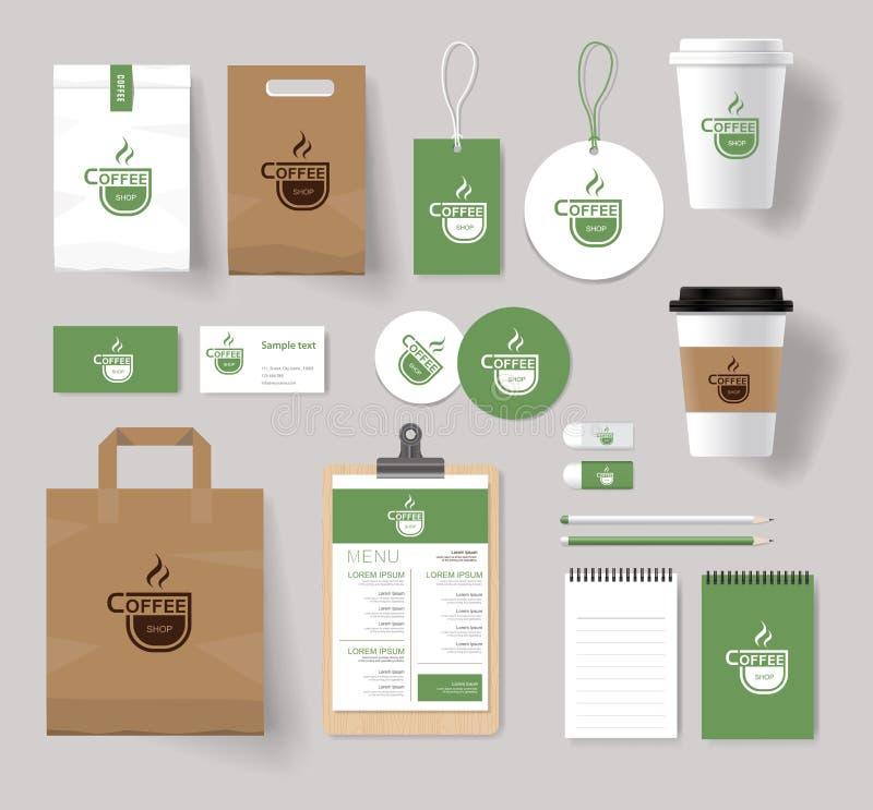 Derisione corporativa di identità marcante a caldo sul modello per la caffetteria illustrazione vettoriale