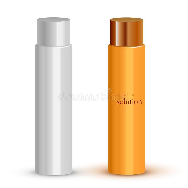 Derisione cosmetica realistica della bottiglia installata Illustrazione di vettore illustrazione di stock