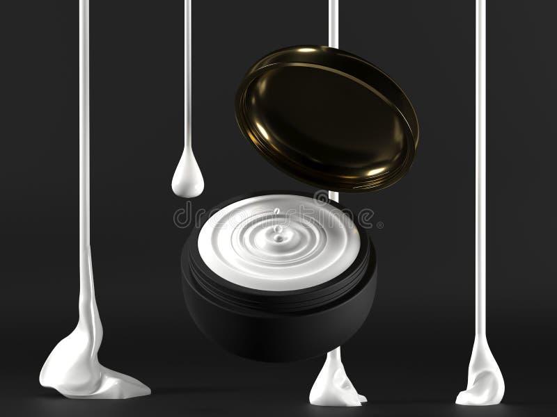 Derisione crema in bianco nera del pacchetto su su un fondo scuro il cosmetico 3d compone la crema liquida rappresentazione 3d Cr immagine stock libera da diritti
