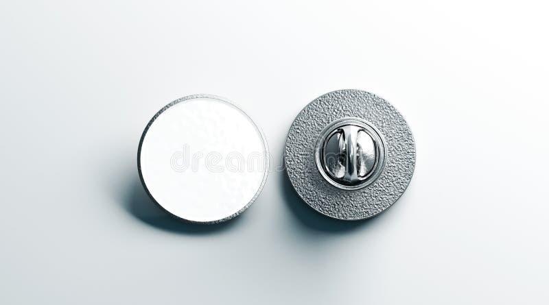 Derisione d'argento rotonda bianca in bianco del distintivo del risvolto su, parte posteriore anteriore immagine stock libera da diritti