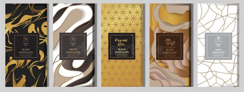 Derisione d'imballaggio della barra di cioccolato installata elementi, etichette, icona, strutture illustrazione vettoriale