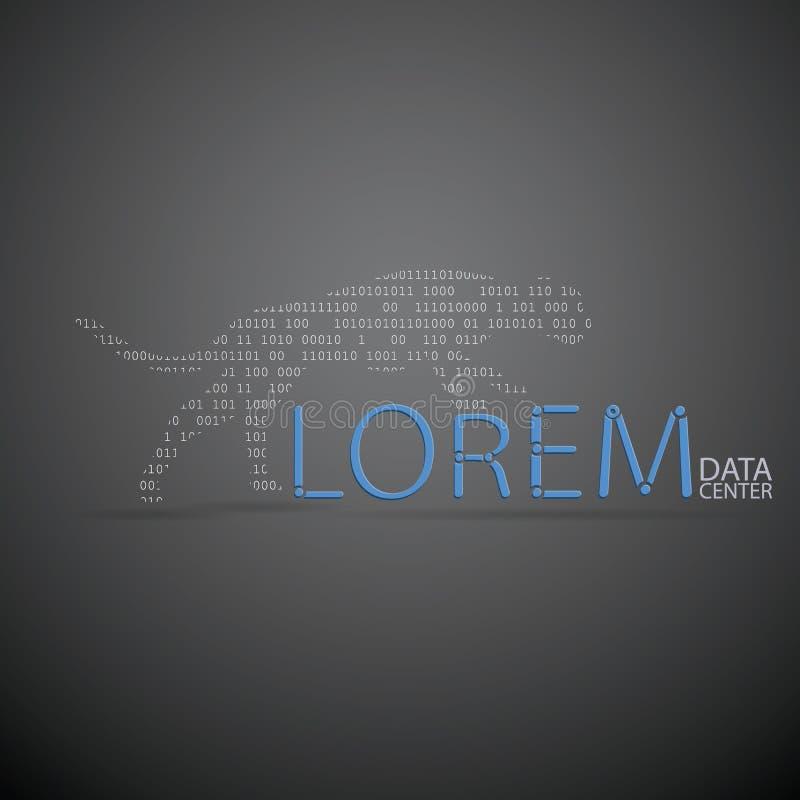 Derisione del modello di progettazione di logo di vettore su centro dati o icona astratta di concetto dell'azienda delle tecnolog illustrazione di stock