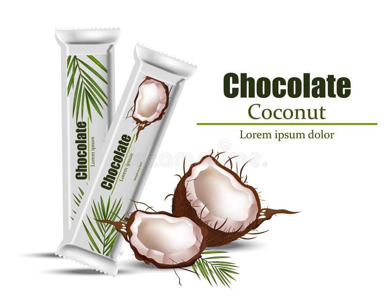 Derisione del pacchetto del cioccolato della noce di cocco su Vector la disposizione dell'identità dell'alimento che marca a cald illustrazione di stock