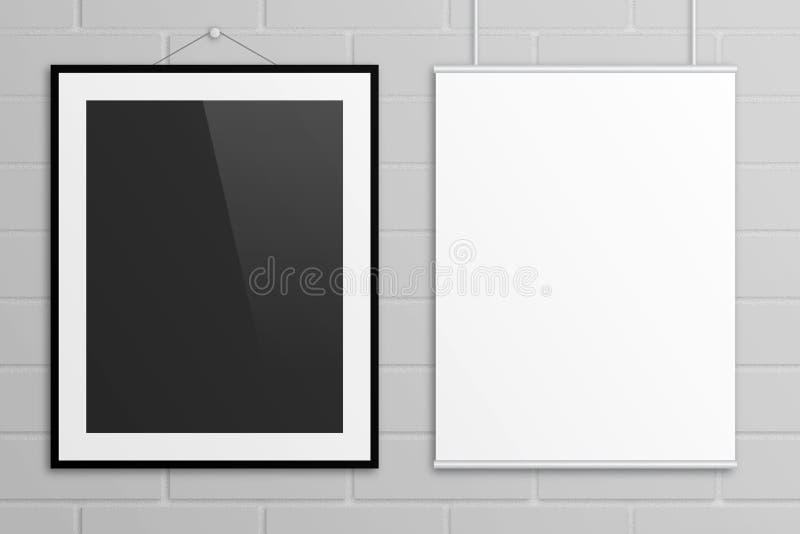 Derisione dell'illustrazione dei manifesti 3D della lettera degli Stati Uniti su sulla parete di mattoni royalty illustrazione gratis