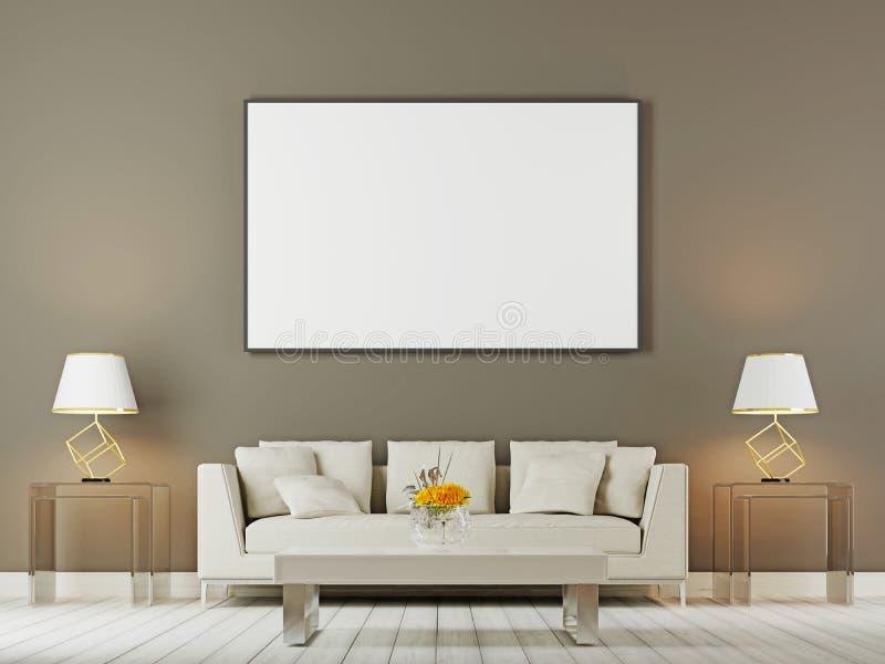 Derisione della parete interna del salone su con il sofà, i cuscini e le lampade bianchi su fondo marrone royalty illustrazione gratis