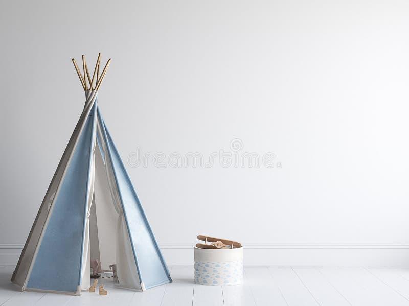 Derisione della parete nella stanza di bambini, interno scandinavo di stile fotografia stock