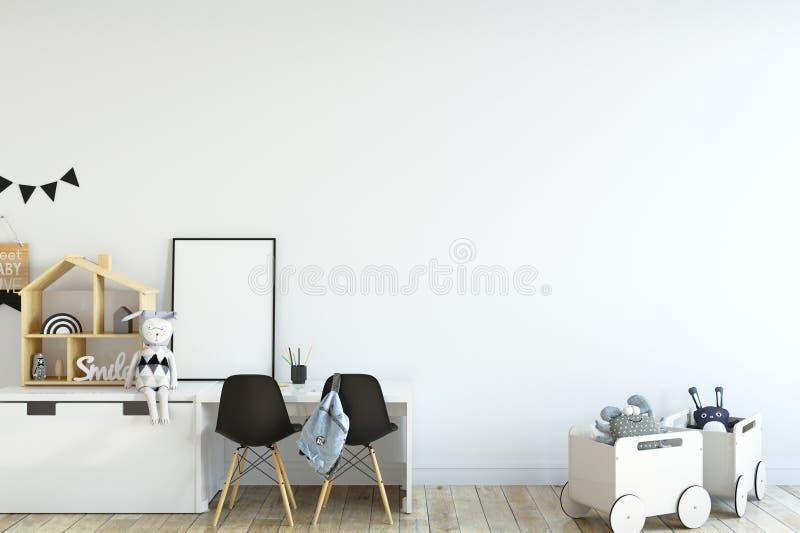 derisione della parete su Interno della stanza del ` s del bambino Stile scandinavo 3D rappresentazione, illustrazione 3D illustrazione vettoriale