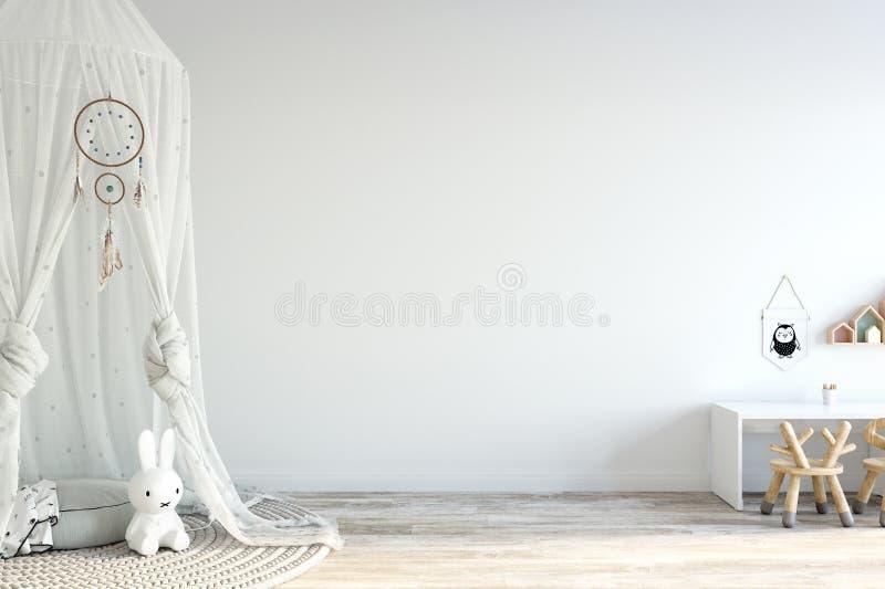 derisione della parete su Interno della stanza del ` s del bambino Stile scandinavo 3D rappresentazione, illustrazione 3D royalty illustrazione gratis