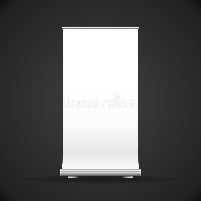 Derisione di vettore su rotolo verticale in bianco bianco sull'illustrazione del banco di mostra dell'insegna di affari di pubbli royalty illustrazione gratis